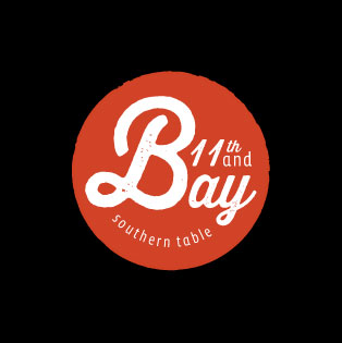 an 11th and bay logo with black background